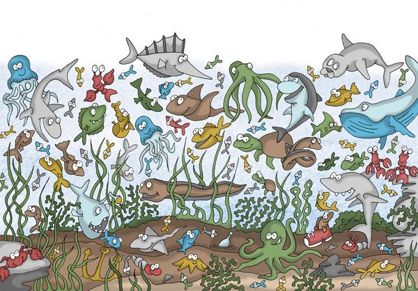 Wimmelbild Unterwasser