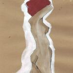 Zeichnung, Kaffee und Gouache 3 (3er Serie)