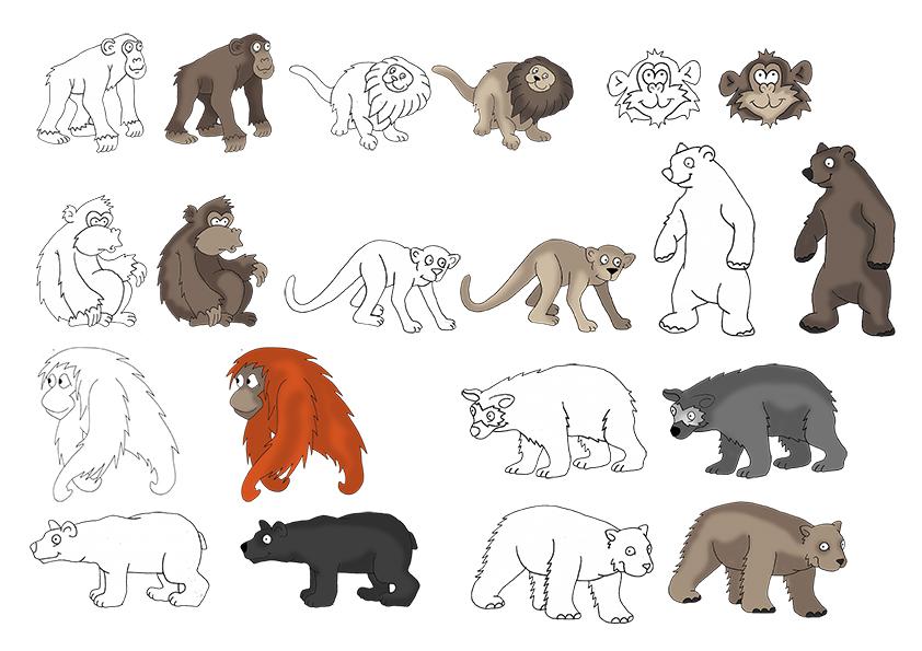 Affen und Bären